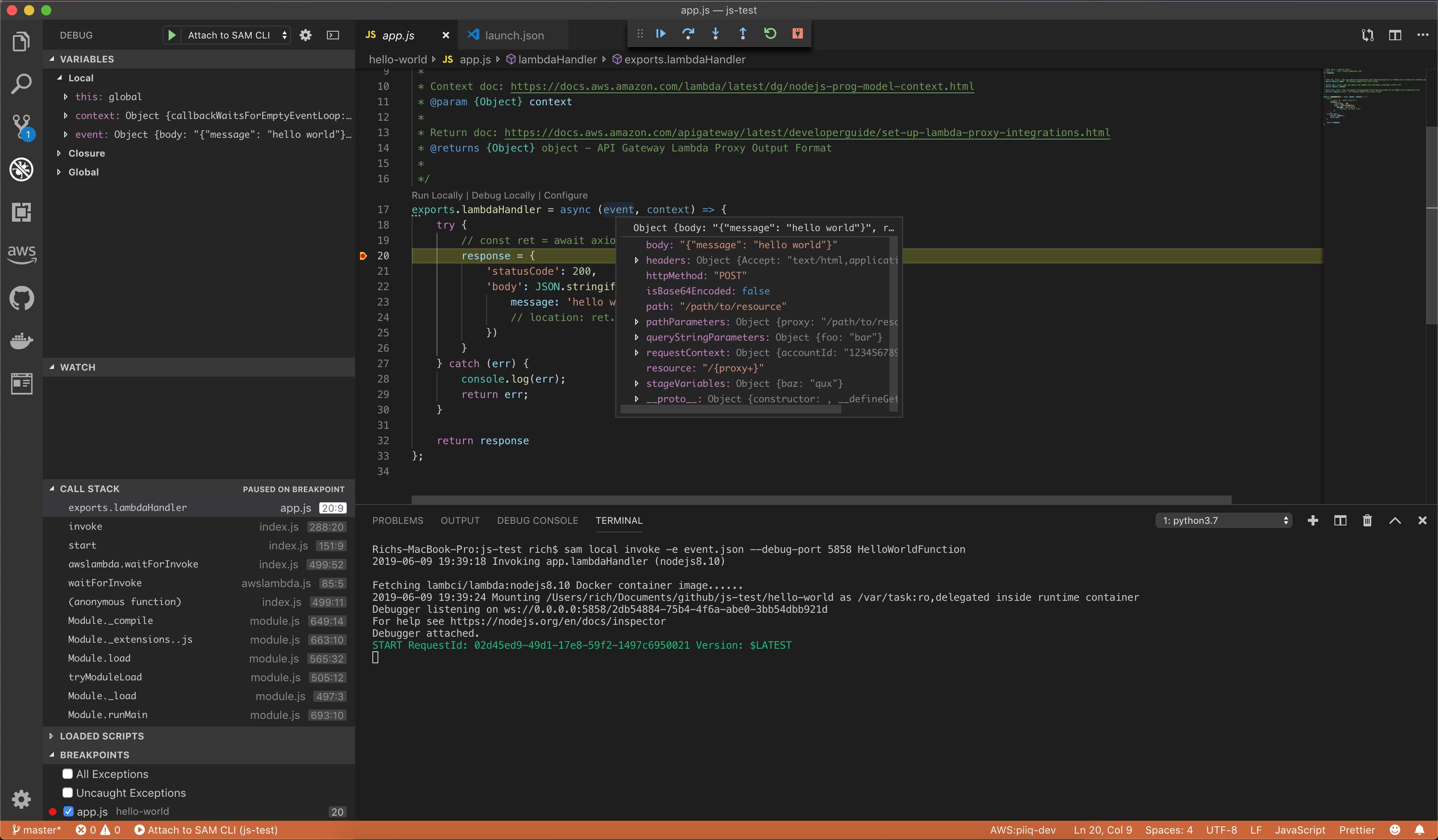 VS Code running in debugging mode