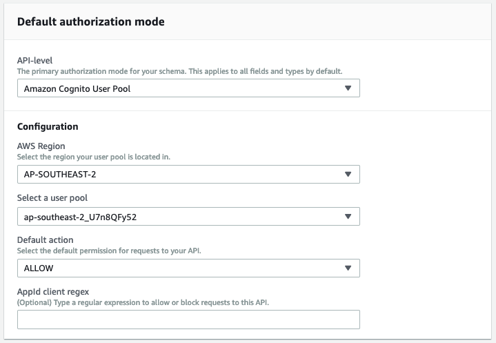 AWS AppSync default authorization mode screenshot